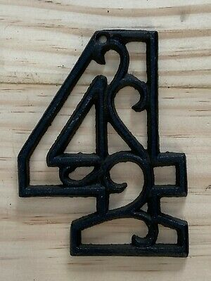 Vintage-Style Cast Iron Decorative Scroll NUMBER FOUR (4) Address Street House