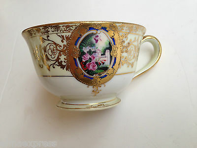 Hand Painted Abura China A1U1 Japan Gold Gilded Roses Cream White - TEA CUP