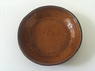 """Early Antique 18th 19th Century Primitive Stamped 4 Redware 6-7/8"""" Pottery Bowl"""