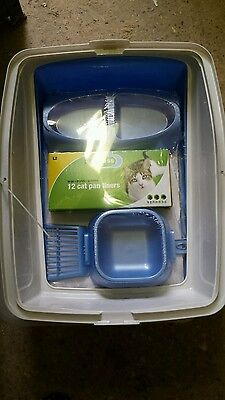 Van Ness Cat Starter Kit - High Sided Litter Tray, Food Dishes, Scoop HALF PRICE