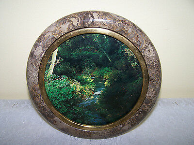 Marble Picture Frame Round Mid Century Art Very Heavy Collectible
