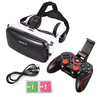 VR Virtual Reality Headset 3D Video Glasses with Headphone+Game Controller AC613