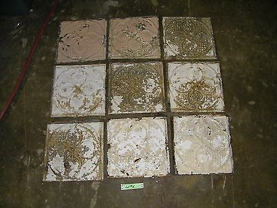 Lot #6 - 9 Reclaimed Antique Tin 12x12 Ceiling Tiles Salvage