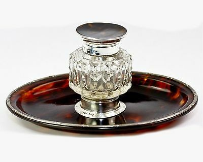 Antique English Sterling Silver & Faux Tortoise Shell Inkwell, Ink Well, Pen Std