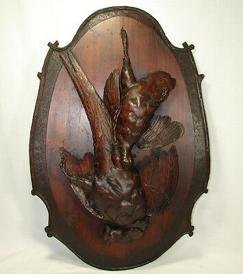 """Huge Antique 29.5"""" Tall Hand Carved Black Forest Plaque Fruits of the Hunt Theme"""