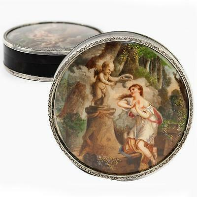 Antique French Snuff Box, Portrait Miniature in Sterling Silver, c. 1780-1830