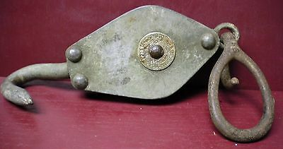 Antique Pat.1889 Lane Brothers Block & Tackle Pulley Farm Or Shop Garage #01