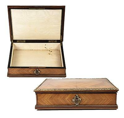 Antique 1800s French Kingwood & Ormolu Jewelry Box, Chest, Lock & Key, Napoleon3