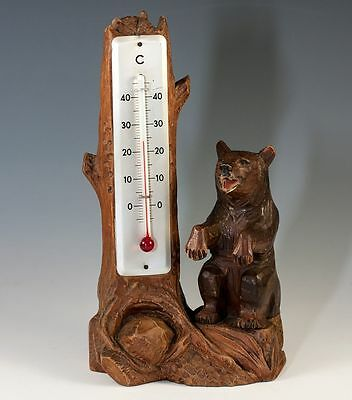 "Vint Hand Carved Black Forest 8"" Bear & Log Thermometer Stand, Weather Station"