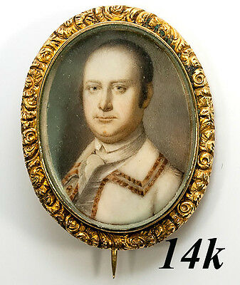 Antique Georgian to Early Victorian Portrait Miniature in 14K Solid Gold Brooch
