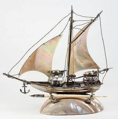 Fab Antique French Mother of Pearl Sail Boat, Ship, Double Inkwell, Souveni