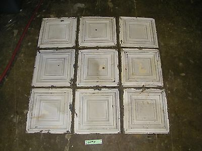 Lot #9 - 9 Reclaimed Antique Tin 12x12 Ceiling Tiles Salvage