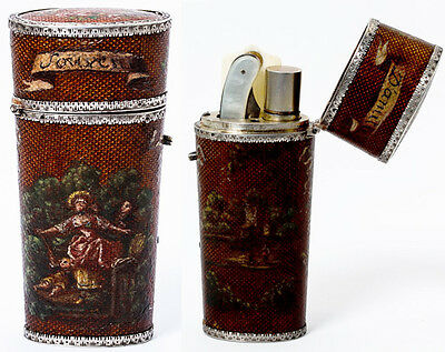 Antique French Necessaire, Vernis Martin Etui with all Implements, French Silver