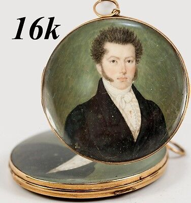 Superb Antique French Empire Portrait Miniature in 16k Gold Locket Frame