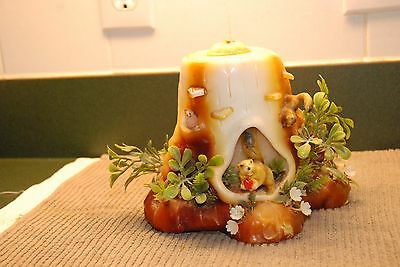 Vintage Woodland Tree Candle Forest Scene 3 Dimensional