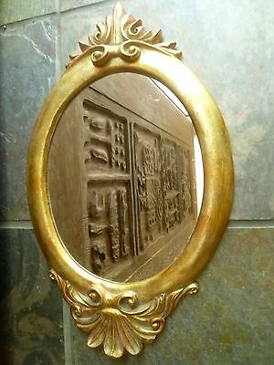 OVAL WALL MIRROR w/ Gilded Gold Antiqued FRAME   Molded in Florentine Style