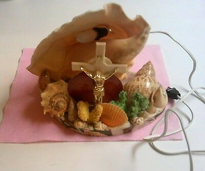 Vintage Sea Shell Lamp With Crucfix Cross