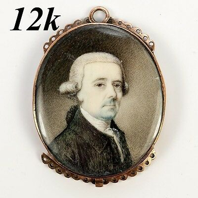 Antique Georgian, Victorian 12k Gold Bracelet Clasp, Portrait Miniature  c. 1800
