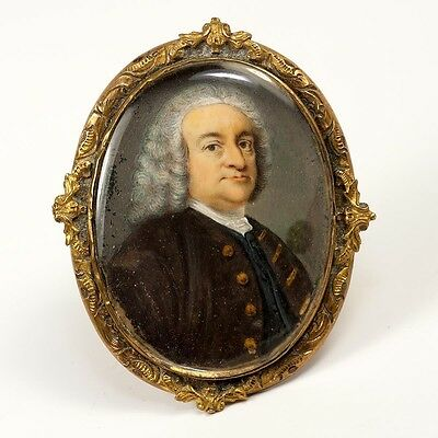 Antique Georgian to Early Victorian Portrait Miniature set in Brooch Frame