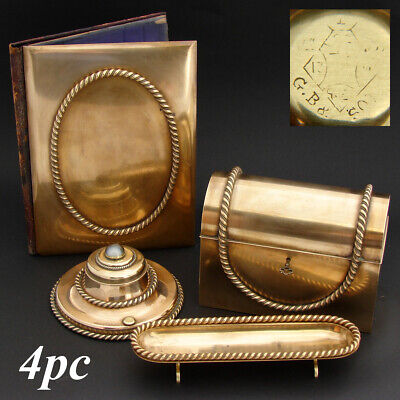 3pc Antique French Gilt Bronze Desk Set: Stationery Casket, Folio & Pen Tray