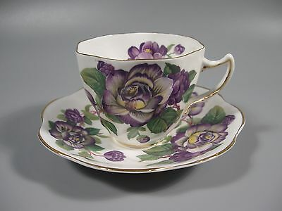 Rosina Cup and Saucer Purple Flowers