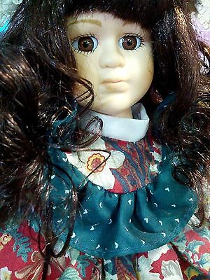 """Dreams Treasures Premier Edition Porcelain 12"""" Doll Long Curly Brown Hair +Stand"""