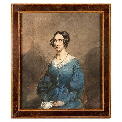 Antique French Aquarelle Portrait, Frame, artist: Ludovic Alfred de Saint-Edme