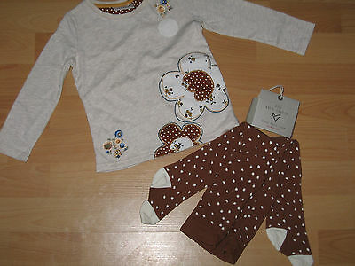 Bnwt Next 4-5 Years Girls Top With Flower And Spotted Tights Set