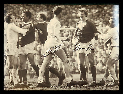 New Denis Law And Jack Charlton Duel Signed  12x16 Football Phorograph