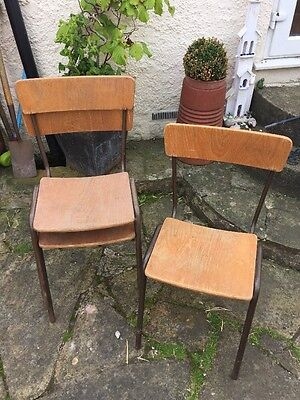 19x Industrial Vintage Stacking Old School Cafe Chairs Wooden Tubular Metal