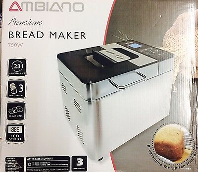 Ambiano Premium Bread Maker 750W - 23 Programmes - 3 Loaf Sizes -