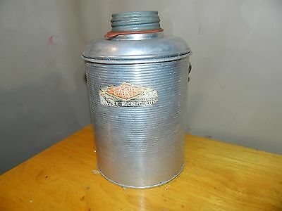 Vintage Faris Ribbed Aluminum Deluxe Picnic Jug Hot Or Cold Glass Lined
