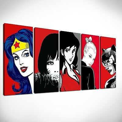 Set 5 quadri dipinti a mano Fujiko, Catwoman,Eva Kant, Wonder Woman  pop art