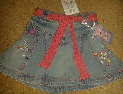 BNWT girls sugar pink denim skirt embroidered applique age 1 - 2 years