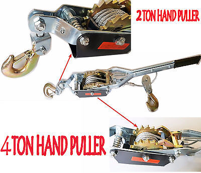 2T 4T Ton Hand Power Puller Winch Tool Car Pull Hoist Trailer Machine Boating