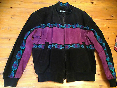 """LEATHER /SUEDE  WESTERN STYLE JACKET """"ADLER""""1980's size LARGE."""