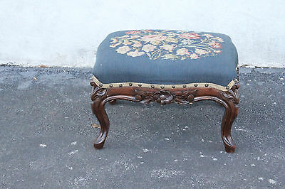Darling Antique French Louis Walnut Carved footstool, Original Needlepoint