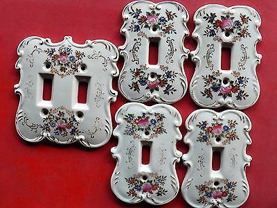 Set 5 Vintage Hand-Painted Porcelain ARNART SWITCH PLATES Japan Floral #7310