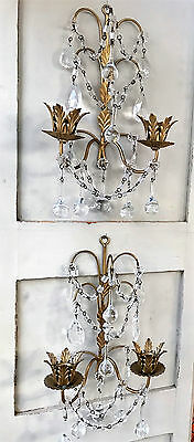 Vintage Pair Gilt Florentine ITALIAN Tole WALL CANDLE SCONCES  Crystals Drops