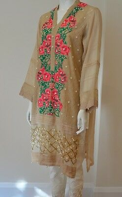 Agha Noor Latest Design Beige Kurta With Multi Embroidery, Pearl Embellishments