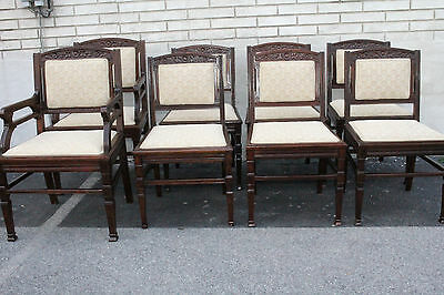 Great Set of 8 American Victorian Eastlake Walnut Dining Room Chairs, 19th C.