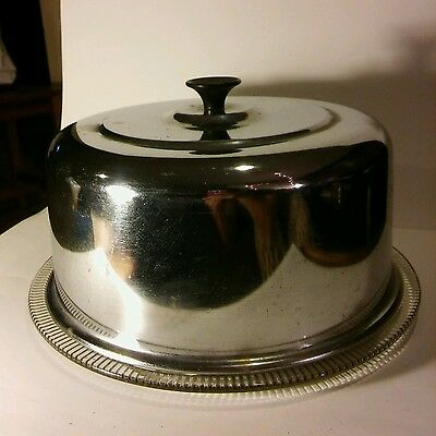Vintage Decorated Glass Chrome Cover Cake Pie Saver Carrier Mid Century