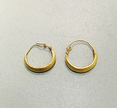 A Pair Of Ancient Roman Matched Gold Hollow Hoop Earrings, Elegant Jewellery