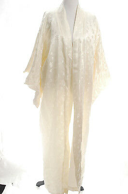 VTG 1940s-1950s Women Ladies Chinese Silk Embroidered Robe Coat Kimono Ivory M