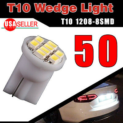 50x Super Bright White T10 Wedge 8SMD LED Interior Light Bulbs W5W 194 168 2825