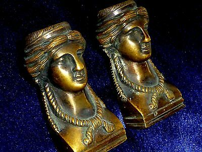 Pair of french architectural gothic bronze Caryatid Figurine mounts pediments (2