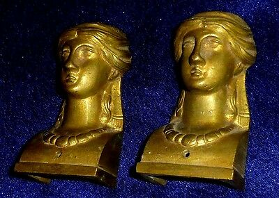 Pair of french architectural gothic bronze Caryatid Figurine mounts, pediments