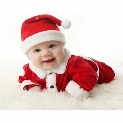 Baby Boy Girls Christmas Santa Claus Costume Top+ Pants + Hat Outfit Clothes Set