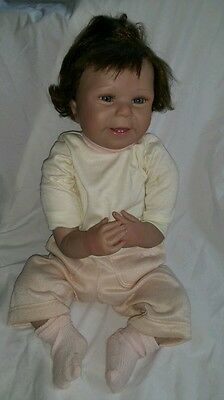 "Ashton drake reborn doll real designed by huti b 2006 22"" blue eyes 2 teeth"