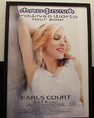 "Madonna Orig. Rare Framed Poster ""Drowned World Tour 2001"" Mint Condition"